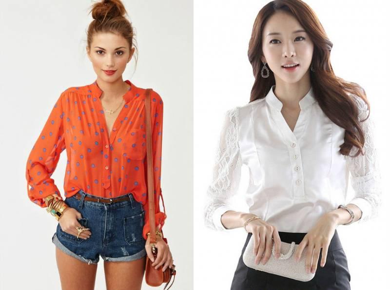 Блузка с воротником стойка с чем носить